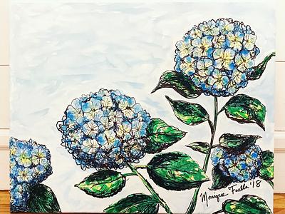 Hydrangeas nature illustration canvas painting watercolor hydrangeas