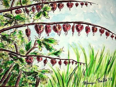 Bleeding Hearts illustration nature painting watercolor art heart