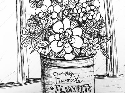 """Coffee Can Bouquet"" work in progress illustration"