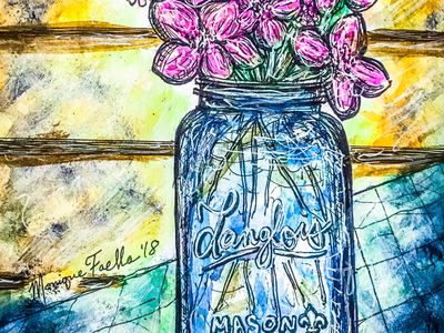 Mason Jar Bouquet, illustration