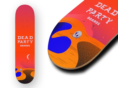 Dead Party Boards | Deck Mock gradients sketch hand drawn skull dead dead party deck art skate deck prcoreate procreate art