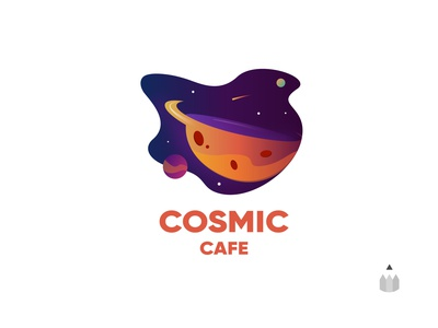 Coffee Cafe | Daily Logo Challenge Day 6 dailylogodesign dailylogochallenge cosmic cafe outer space pun space illustration logo designer logo coffee shop coffee