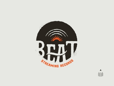 Daily logo challenge: Day 9 // BEAT Streaming 🎶 *Vintage vinyl streaming dailylogochallengeday9 illustration logo vinyl retro daily logo challenge