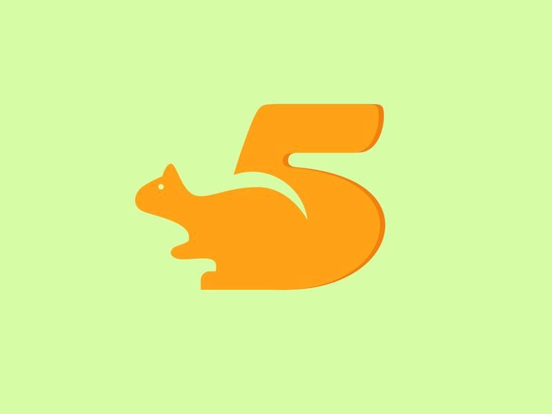 5   Squirrel Typography typography vector flat illustration design