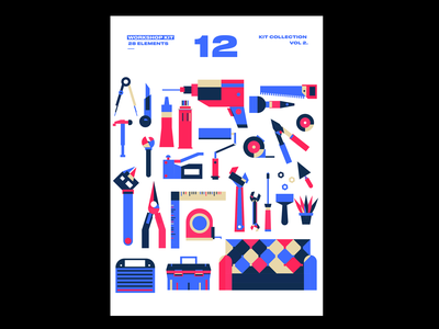 Wood workshop Kit workshop flat illustration woodworking hex key ratchet tool box clamp wrench stitching awl screwdriver pliers punch monkeywrench mallet hammer calendar design drawing illustration tool