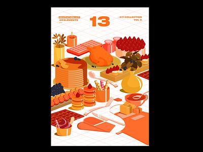 Invitation Kit isometric illustration isometric vivid invitation cake icecream turkey snack gift sweets vase banana strawberry macaron hot cakes welcome orange drawing design illustration