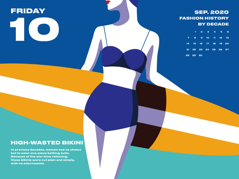 2020 Fashion Calendar 03 social movements politics over the last century fast food bikini dresses history women shoes fashion illustration fashion design fashion yellow pink blue calendar design drawing illustration