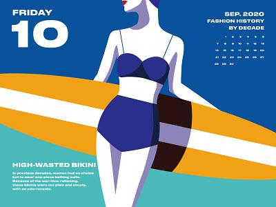2020 Fashion Calendar 03 negativespace social movements politics over the last century fast food bikini dresses history women shoes fashion illustration fashion design fashion yellow pink blue calendar design drawing illustration