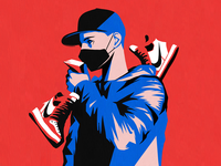 Collector fashion money sneaker mask hiphop hoodies hoodie minimal theif economy nike black red drawing illustration blue man boy shoes sneakers
