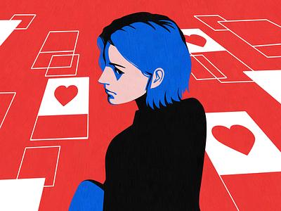 Instagram ladies tinder like phone facebook social women in illustration dating app datingapp digital sns girl instagram influencer black blue women love red illustration