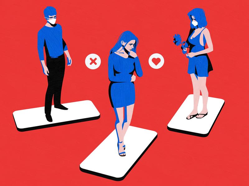 Tinder dating app datingapp hinge phone ladies women in illustration lady minimal instagram like social girl man women tinder sns red blue love illustration