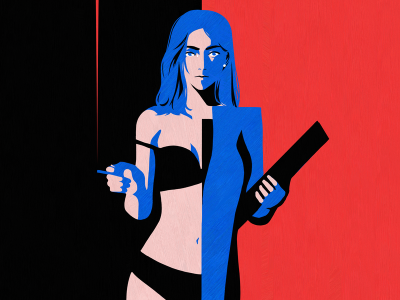 Day & Night illustraion underwear red blue tinder duality sns minimal smoking smoke social instagram woker office sexy sexy girl lady ladies women in illustration women