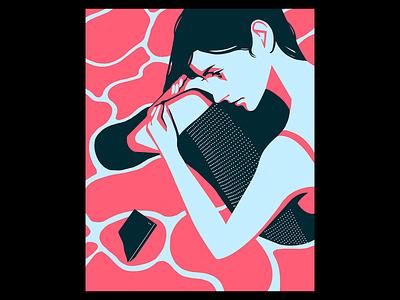 Instagram love pink minimal illustration girl phone sns tiktok