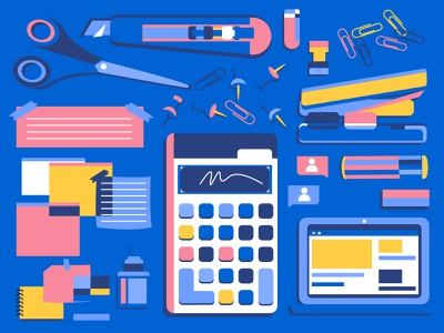 Record Kit design drawing illustration cutter x-acto note stationary pink yellow blue stapler glue scissor scissors memo laptop calculator clip eraser