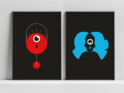 Couple of posters modern acohol illustration eye alcoholism poster