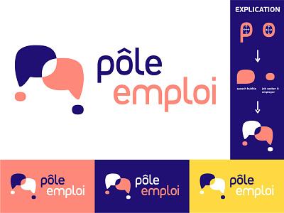 Logotype job search search logotype discussion color branding pole emploi job logo
