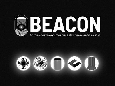 BEACON - Branding effect icon logotype logo texture black and white black darkness design minimal branding design branding brand shadow light dark