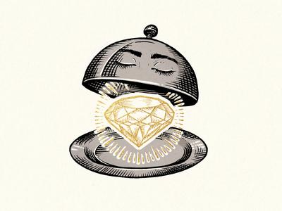Royal Card Illustration #3 traditional diamond design slovenia gold ink illustration drawing