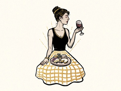 Royal Card Illustration #5 woman wine traditional card slovenia luxury ink illustration gold drawing
