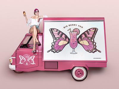 Cocktail Van illustration design wacom photoshop slovenia drawing berry portfolio illustration design drink butterfly van illustration