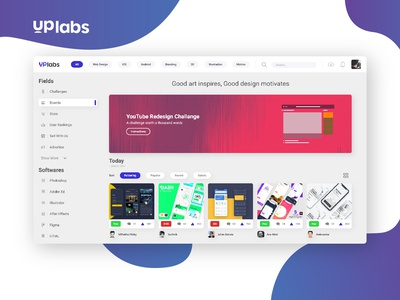 Uplabs Redesign Challange xd uplabs redesign concept web