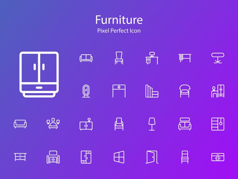 Furniture Icon mobile ios clean vector logo lettering blue typography type minimal illustrator app illustration identity icon character branding brand flat design