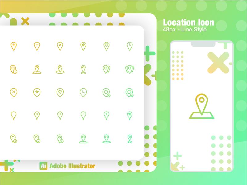 Location Icon 48px illustrator illustration identity icon character branding brand app flat design