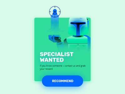 Recommendation hiring hire headhunter wanted jango fett boba fett ui web webdesign illustration