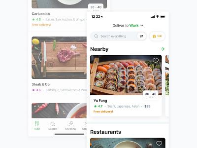 Careem – Restaurant Carousels & Cards 🍔 app restaurant location address rating flat clean basket checkout order ux ui carousel deliveroo uber uber eats careem now careem delivery food