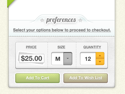Shopping Cart ui interface cart wishlist add to cart shopping commerce button buttons sleak lobster helvetica helvectica neue quantity size price cost