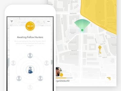 Game Lobby 🔑 location navigation mapbox menu ios10 dark key lobby game hunt treasure map