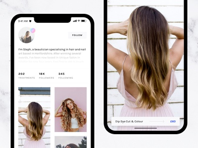 Beautystack – Profile View details profile beauty photo social payment booking girl app ios fashion