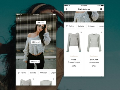 Visual Search (Animation & UX) - Farfetch girl grid list shop product filters app fashion ecommerce photo search visual