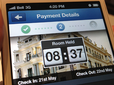 Room Held - Hotel booking view ios iphone steps stages process clock timer countdown hotel room book reserve checkin ux payment