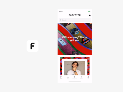 Farfetch Visual Search photo ios iphone landing page label tag search bar product page ecommerce product discover fashion app fashion farfetch search visual search