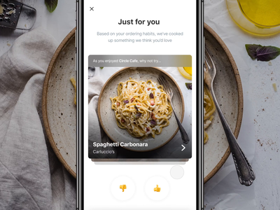 Dish Discovery – Careem NOW drag thumb pasta pizza gesture order interaction uber design uber eats deliveroo discovery careem now careem delivery food dishes dish discover tinder swipe
