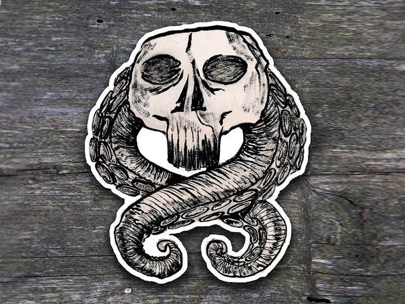 Skull and tentacle sticker cthulhu skull tentacle sticker illustration