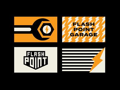 Flash Point Cards logo bolt car garage illustration icon design branding