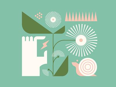 Spring Quest spring snail vector flower illustration branding