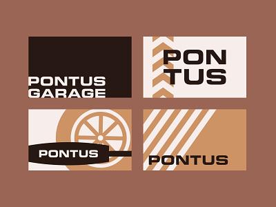 Pontus Business Cards business card vector garage logo icon illustration design branding