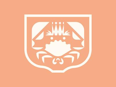 The King badge icon illustration design branding crown crab
