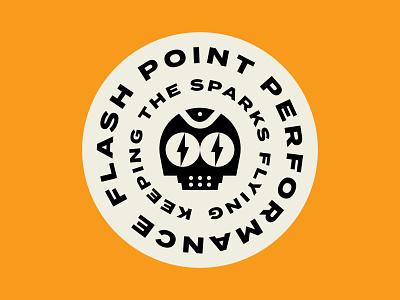 Flash Point Badge logo bolt robot badge garage icon illustration