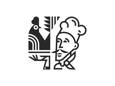 The Chef design restaurant chef chicken illustration icon branding