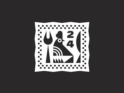Chicken Sticker bird badge restaurant knife fork chicken design logo icon branding