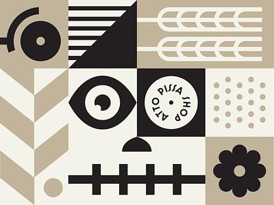 Mural wheat ingredients skull shapes illustration icon branding