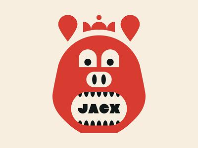 Pig Prince typography design branding teeth restaurant crown pig illustration icon
