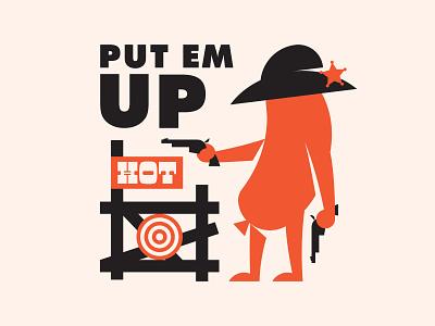 Put Em Up branding hot sausage bullseye food sheriff western illustration