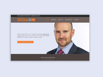 Stoll Injury Law Website wordpress graphic design law website
