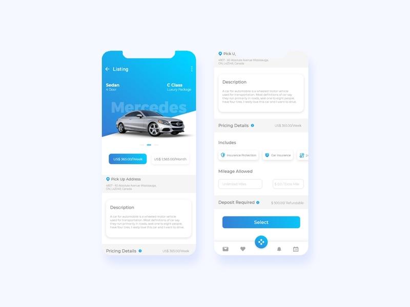 Design Concept : Car Booking Screen app screen screen ios app design vector adobe xd design app ux web ui