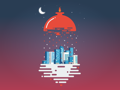 Illustration For Social Media social media city pomegranate yalda vector iran illustration flat